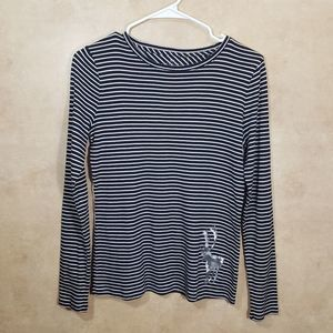 Talbots Black-Striped Top with Reindeer